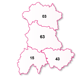 carte de la région Auvergne