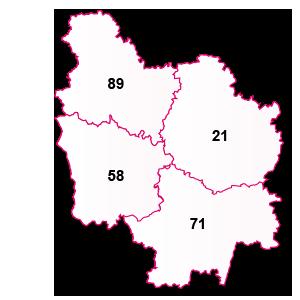carte de la région Bourgogne