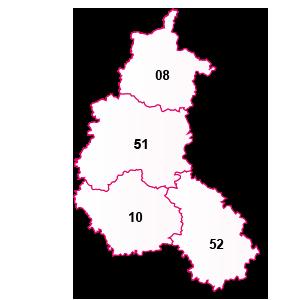carte de la région Champagne-Ardenne