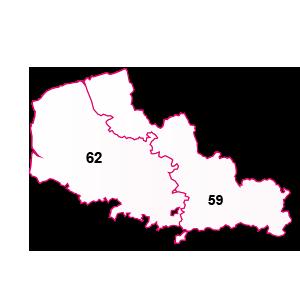 carte de la région Nord-Pas-De-Calais