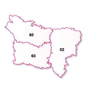 carte de la région Picardie
