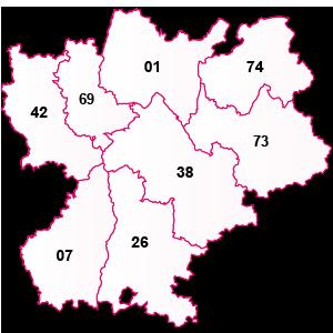 carte de la région Rhône-Alpes