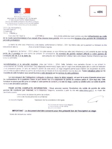lettre 48n et le stage obligatoire pour les permis probatoire