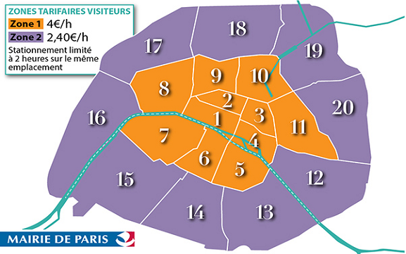 carte des nouveaux tarifs de stationnement à PAris
