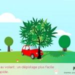 illustration voiture accidentée dans un arbre à feuilles de cannabis