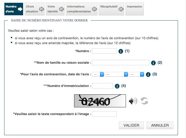 capture d'écran du formulaire de contestation en ligne d'un infraction au code de la route