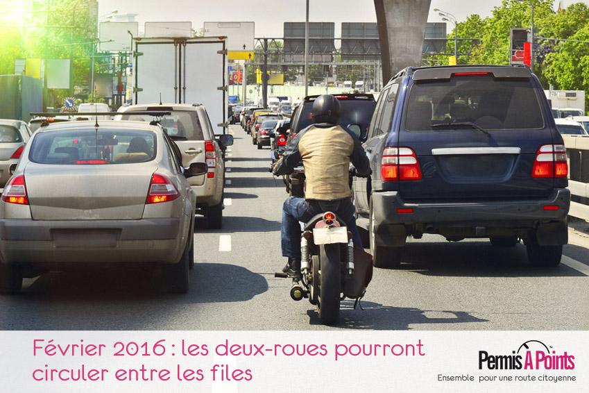 Février 2016 : les deux-roues pourront circuler entre les files